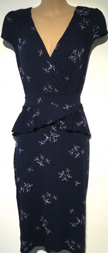 DOROTHY PERKINS NAVY BIRD PRINT PEPLUM DRESS SIZE 10